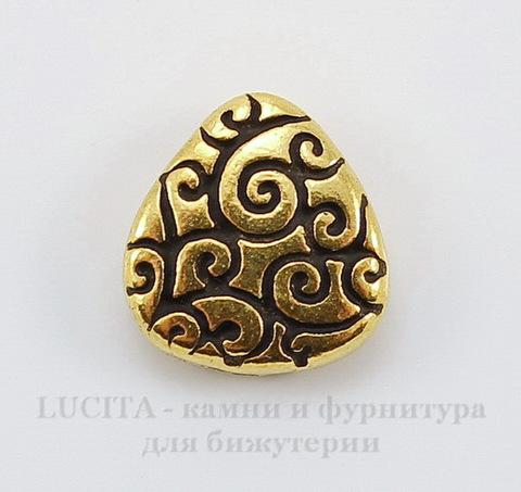 "Бусина Briolette TierraCast ""Завитки"" (цвет-античное золото) 11х10 мм"