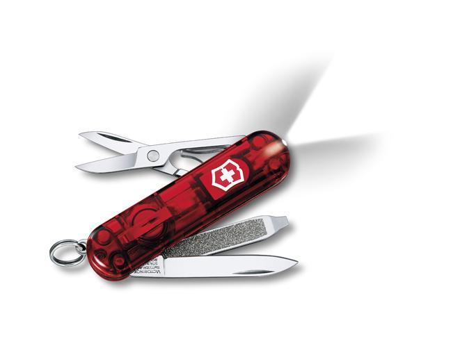 Нож-брелок Victorinox Classic SwissLite, 58 мм, 7 функ, красный полупрозрачный  (0.6228.T)