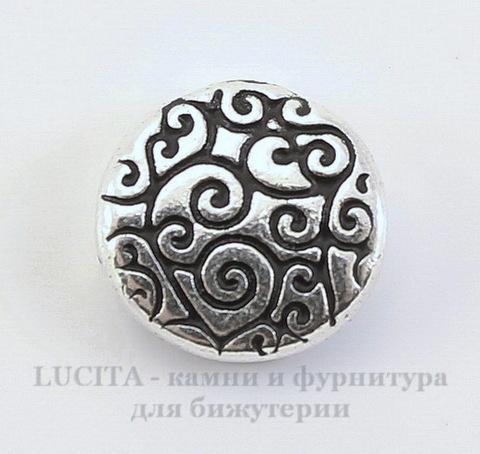 """Бусина круглая плоская TierraCast """"Завитки"""" 12х3,5 мм (цвет-античное серебро)"""