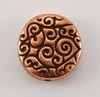 """Бусина круглая плоская TierraCast """"Завитки"""" (цвет-античная медь) 12х3,5 мм"""