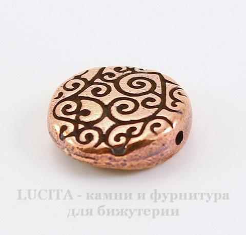 """Бусина круглая плоская TierraCast """"Завитки"""" 12х3,5 мм (цвет-античная медь)"""