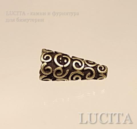 Шапочка - конус для бусины с узором 18х9х9 мм (цвет - античная бронза)