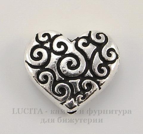 "Бусина в виде сердца TierraCast ""Завитки"" (цвет-античное серебро) 11х10 мм"