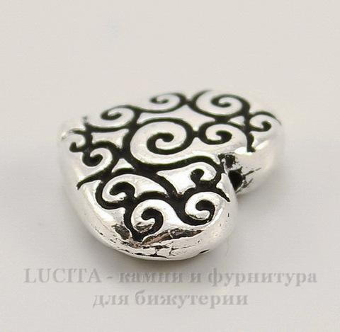 "Бусина в виде сердца TierraCast ""Завитки"" 11х10 мм (цвет-античное серебро)"