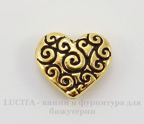 """Бусина в виде сердца TierraCast """"Завитки"""" 11х10 мм (цвет-античное золото)"""
