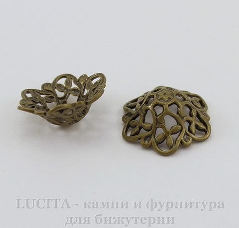 "Шапочка для бусины ""Винтажная"" филигрань (цвет - античная бронза) 12х4,5 мм, 10 штук"