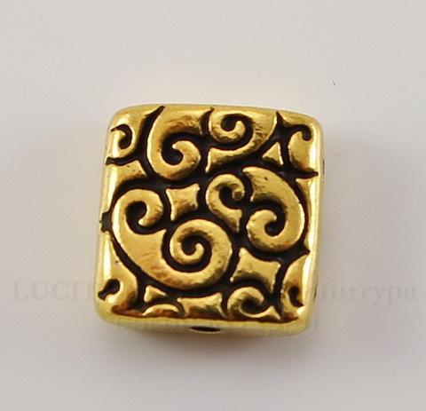 "Бусина квадратная TierraCast ""Завитки"" (цвет-античное золото) 9х9х3,5 мм"