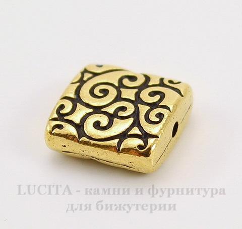 "Бусина квадратная TierraCast ""Завитки"" 9х9х3,5 мм (цвет-античное золото)"