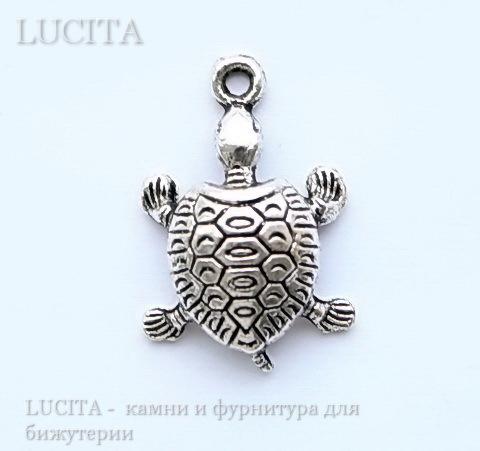 "Подвеска ""Черепаха"" (цвет - античное серебро) 22х14 мм"