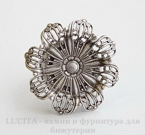 """Винтажная основа для кольца """"Цветок"""" с сеттингом 19 мм (оксид серебра)"""