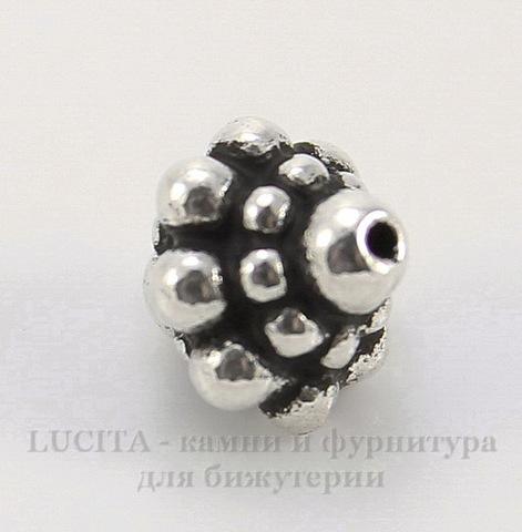 "Бусина TierraCast ""Pamada"" 8,5х8 мм (цвет-античное серебро)"