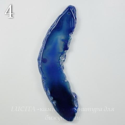 Подвеска Срез Агата, цвет - зеленовато-синий (№4 (91х31 мм)(ЦАРАПИНА))