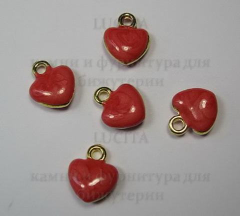 """Подвеска с эмалью """"Красное сердечко"""" 11х10 мм (цвет - золото) ()"""