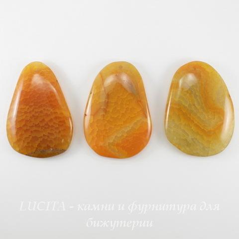 """Подвеска Агат """"Крэкл"""" (тониров), цвет - оранжевый, 54-62 мм"""