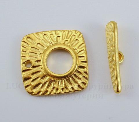 "Замок - тоггл из 2х частей TierraCast ""Радиант"" (цвет-золото) 22х22 мм, 24 мм"